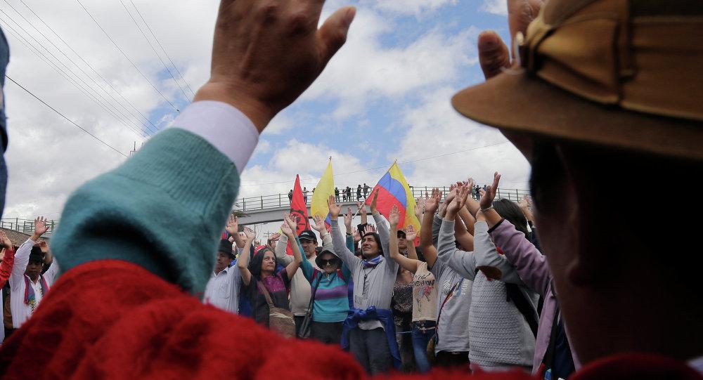 Manifestación de protesta en Ecuador