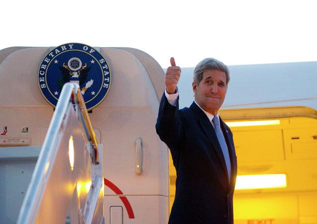 John Kerry, Secretario de Estado de EEUU, antes del viajar a Cuba, el 14 de agostio, 2015