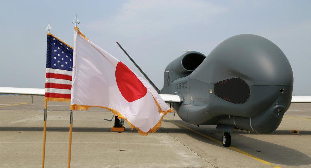 """UAV """"Global Hawk"""" en la base militar de Misawa (al noreste de Japón)"""