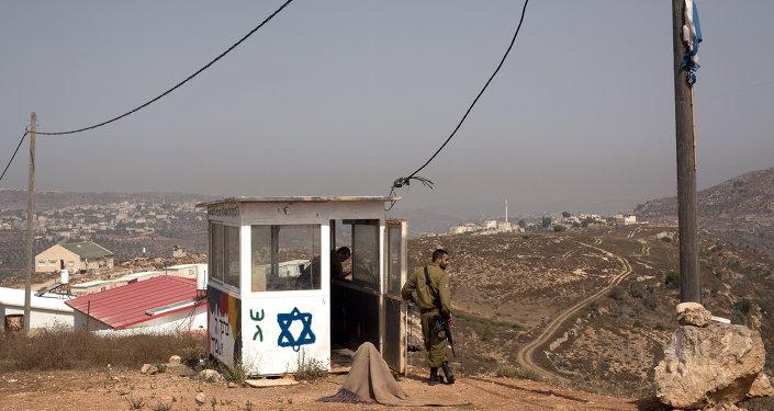 Unos soldados israelíes en Cisjordania