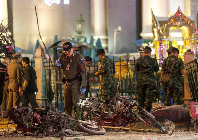 Lugar del explosión en el centro de Bangkok, Tailandia, el 17 de agosto, 2015