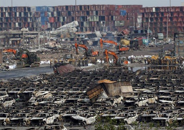 Lugar de explosiones en el distrito de Binhai en Tianjin, China