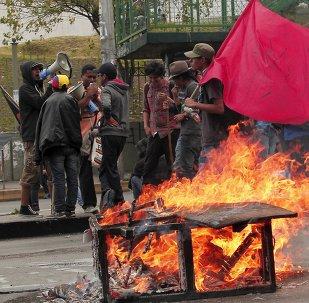Manifestantes en Quito, Ecuador