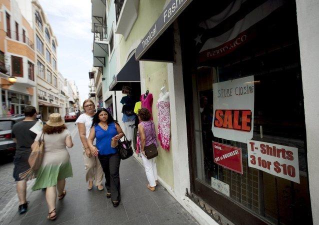 Una tienda cerrada en San Juan, Puerto Rico