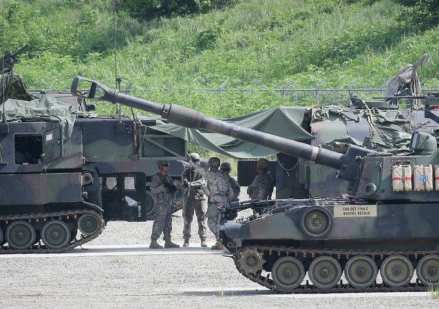 Militares estadounidenses durante los ejercicios conjuntos con Corea del Sur