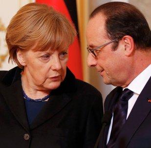 Angela Merkel, canciller de Alemania y François Hollande, presidente de Francia