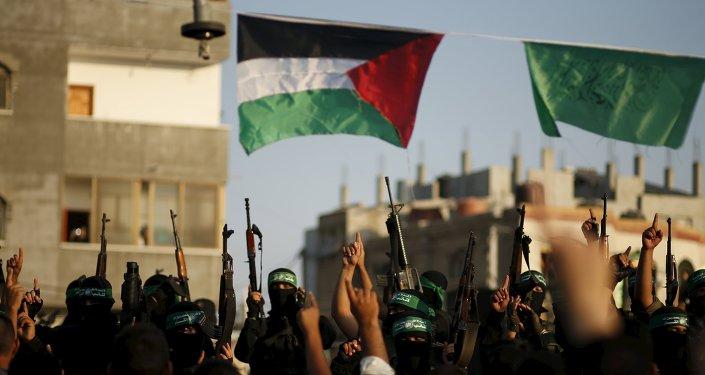 Las banderas de Palestina y Hamás (archivo)