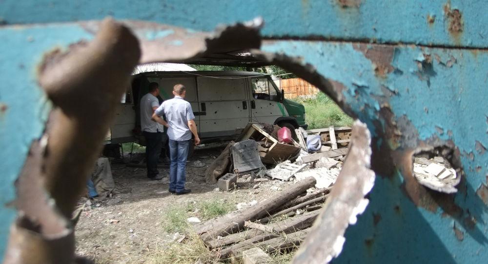 Resultado de un bombardeo ucraniano de Donetsk