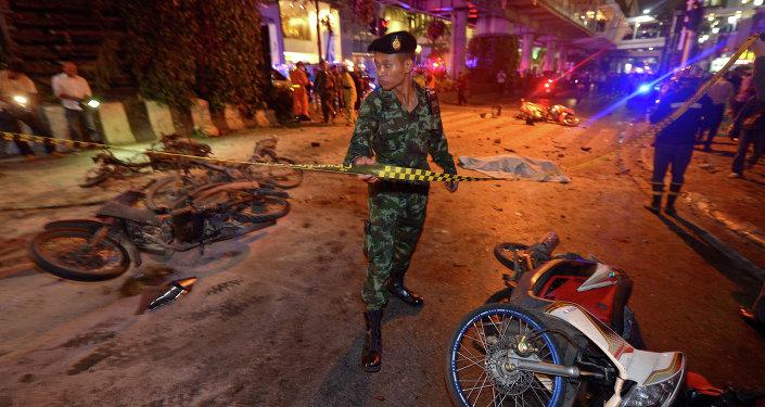 El lugar del atentado en Bangkok