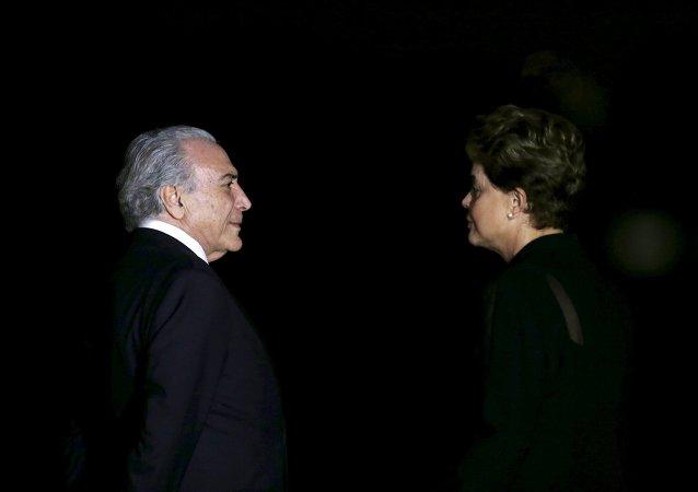 El vicepresidente del Gobierno de Brasil, Michel Temer, y la presidenta de Brasil, Dilma Rousseff