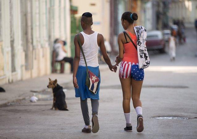 Pareja cubana en La Habana