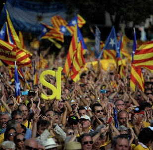 Partidarios de la independencia de Catalonia durante una manifestación en Barcelona