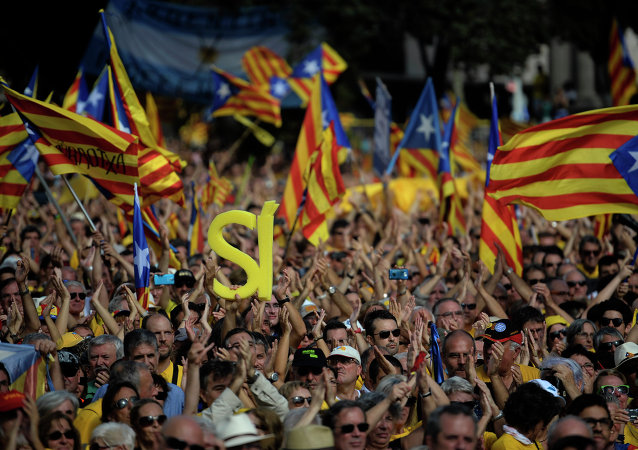 Partidarios de la independencia de Cataluña durante una manifestación en Barcelona