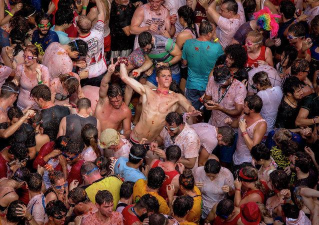 La fiesta de la Tomatina en España