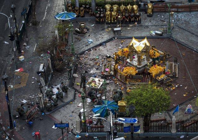 Lugar del atentado en el centro de Bangkok