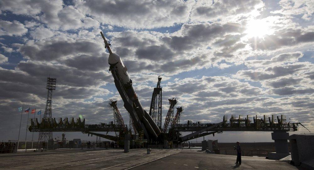 Soyuz TMA-18M en el cosmódromo de Baikonur