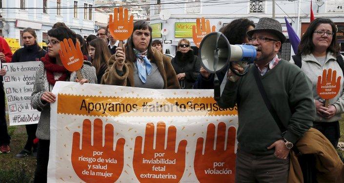 La manifestación en apoyo al proyecto de la ley del gobierno chileno que busca legalizar el aborto (Archivo)