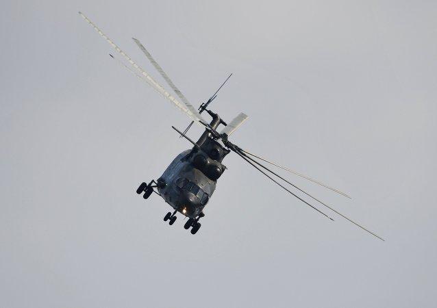 Un helicóptero pesado ruso Mi-26 (ilustración)