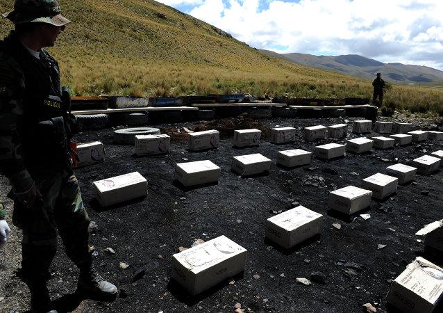 Miembro de la Fuerza Especial de Lucha Contra Narcotráfico (FELCN) esta de guardia al lado de cocaína confiscada en Bolivia (archivo)