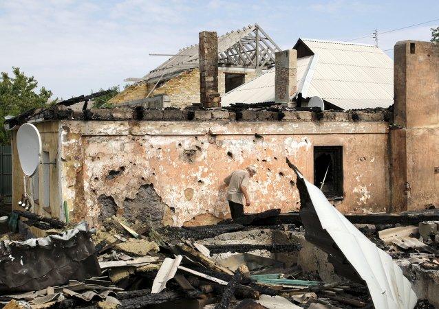 Consecuencias del bombardeo en Donetsk