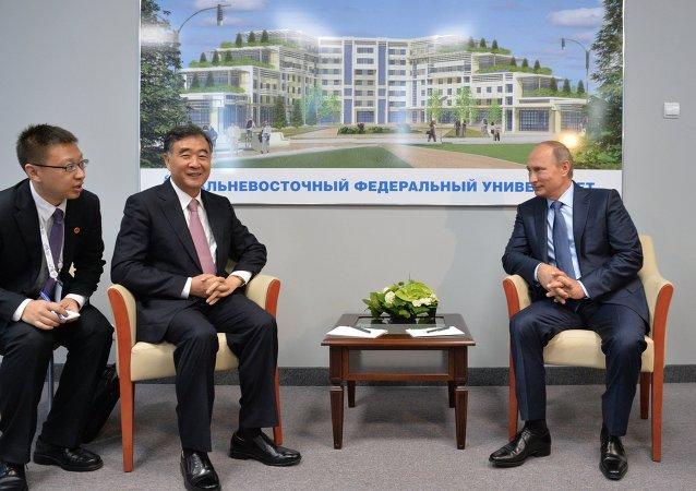 Presidente de Rusia, Vladímir Putin (dcha.), durante su encuentro con el vice primer ministro de China, Wang Yang, en el marco del Foro Económico Oriental