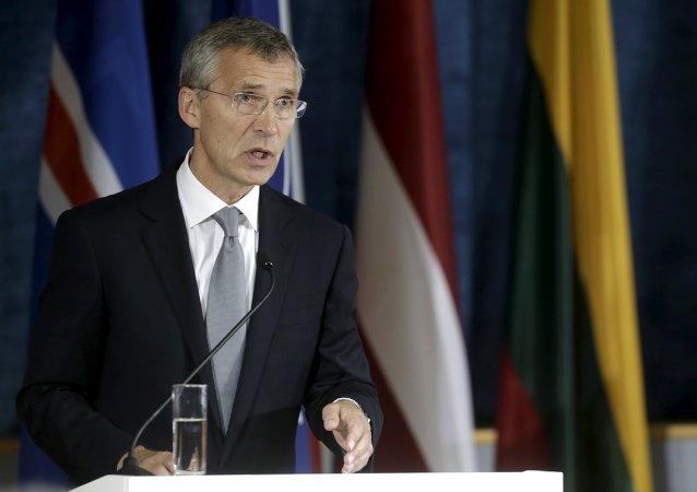 Jens Stoltenberg, secretario general de la OTAN, durante una rueda de prensa en Lituania, el 3 de septiembre, 2015