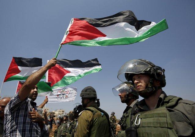 Una protesta contra los asentamientos judíos en Cisjordania, 4 de septiembre de 2015