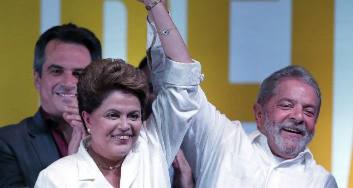La presidenta de Brasil, Dilma Rousseff y el expresidente del país,  Luiz Inacio Lula da Silva