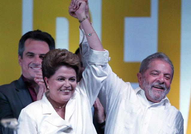 Expresidente de Brasil, Luiz Inácio Lula da Silva, y Dilma Rousseff, presidenta apartada del país (archivo)