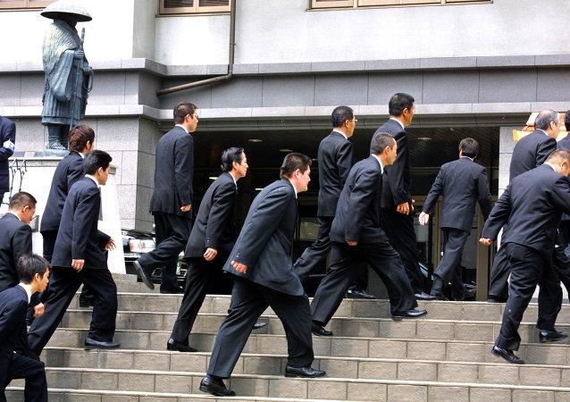 Miembros del grupo yakuza Yamaguchi-gumi