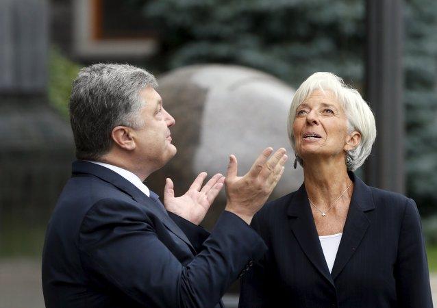 Petró Poroshenko con la Directora del Fondo Monetario Internacional Christine Lagarde, Ucrania, Sept. 6, 2015