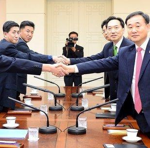 El encuentro entre los representantes de la Corea del Norte y la Corea del Sur en Panmunjom (archivo)