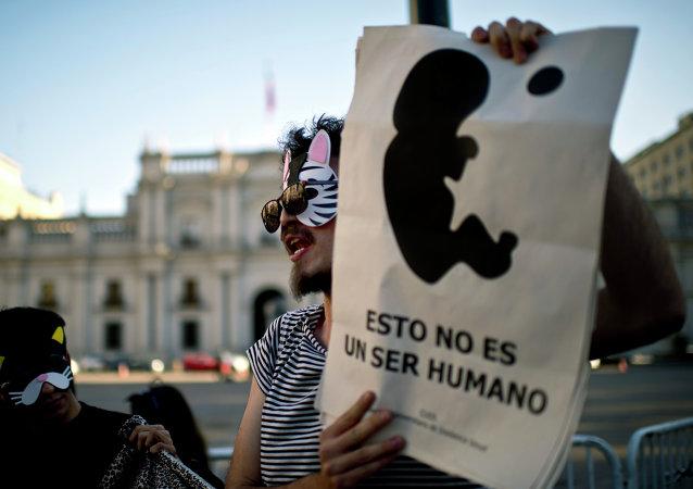 Manifestación a favor de la aborto delante del Palacio de La Moneda