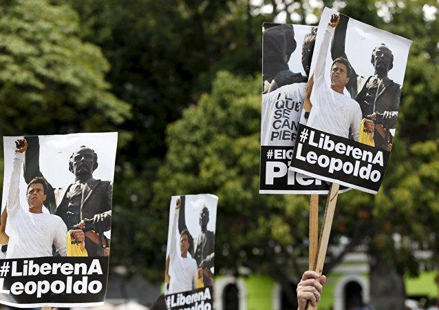 Partidarios de Leopoldo López durante la manifestación en Caracas, el 10 de septiembre, 2015