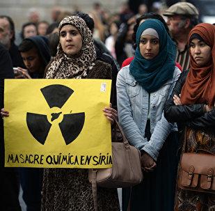 Manifestación contra el uso de armas químicas en Siria