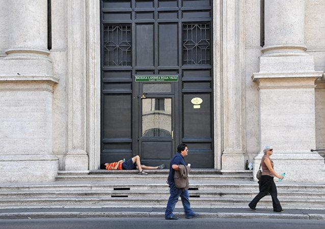 Un sin techo en Roma