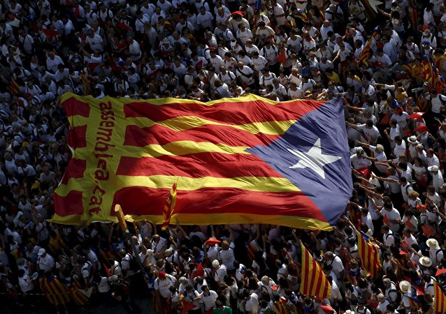 Bandera independista de Cataluña durante la demonstración Via Lliure a la Republica Catalana