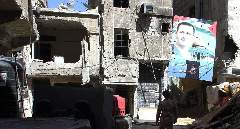 Retrato de Bashar Asad en Damasco