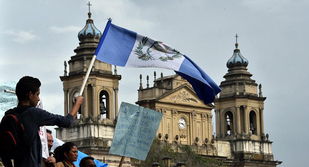Una marcha de protesta en Guatemala