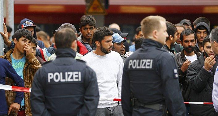 Refugiados en la estación de Freilassing en Alemania