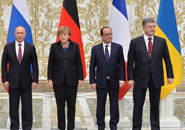 Líderes de los países miembros del Cuarteto de Normandía (archivo)