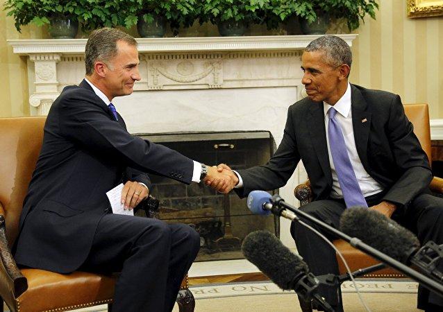 Presidente de EEUU, Barack Obama, y Rey Felipe VI durante la reunión en la Casa Blanca