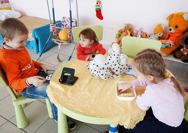 Centro de ayuda humanitaria para refugiados ucranianos en la ciudad Rostov del Don en Rusia