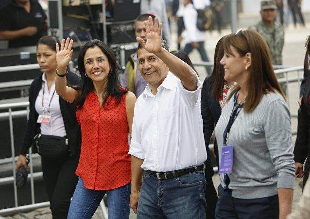 La primera dama de Perú, Nadine Heredia, y el presidente, Ollanta Humala