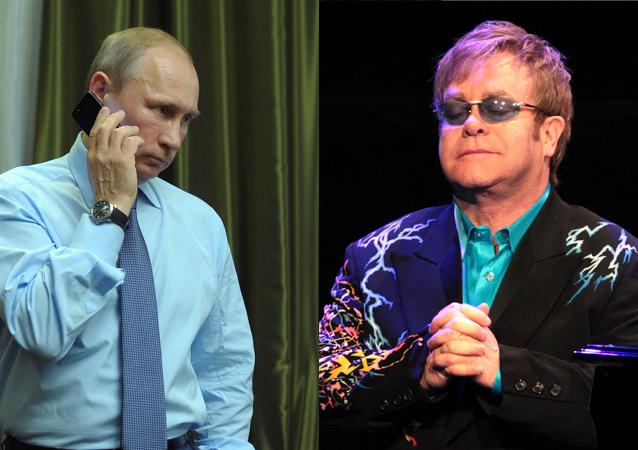 Vladímir Putin y Elton John
