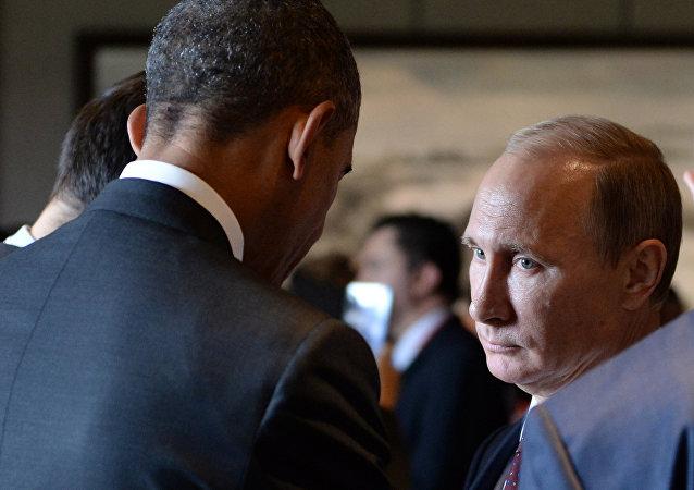 Presidente de EEUU, Barack Obama y presidente de Rusia, Vladímir Putin