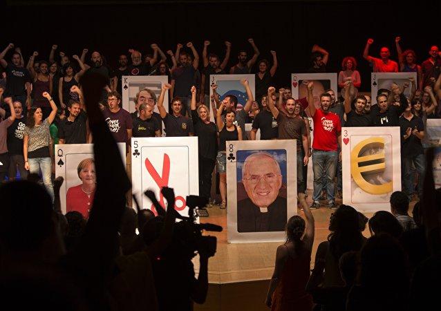 Miembros de la Candidatura d'Unitat Popular (CUP) en Barcelona, el 20 de septiembre, 2015