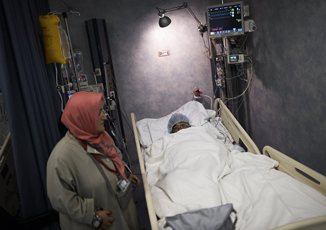 Un peregrino herido en un hospital de Meca