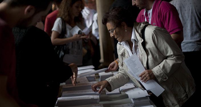 Colegio electoral en Barcelona, el 27 de septiembre, 2015