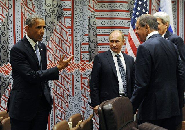 Presidente de EEUU, Barack Obama, presidente de Rusia, Vladímir Putin, ministro de exteriores de Rusia, Serguéi Lavrov y secretario de Estado de EEUU, John Kerry
